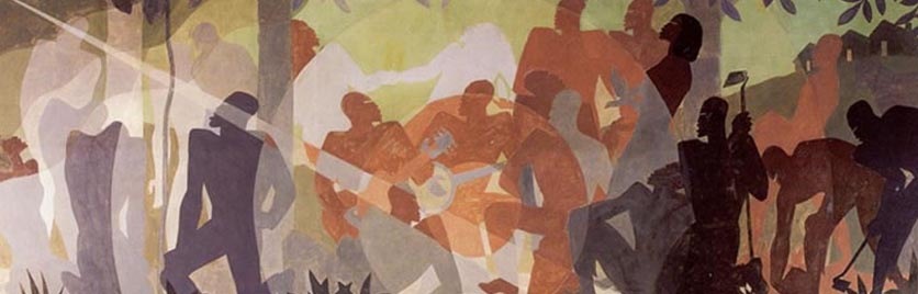 "Aaron Douglas, ""An Idyll of the Deep South,"" 1934, New York Public Library,"